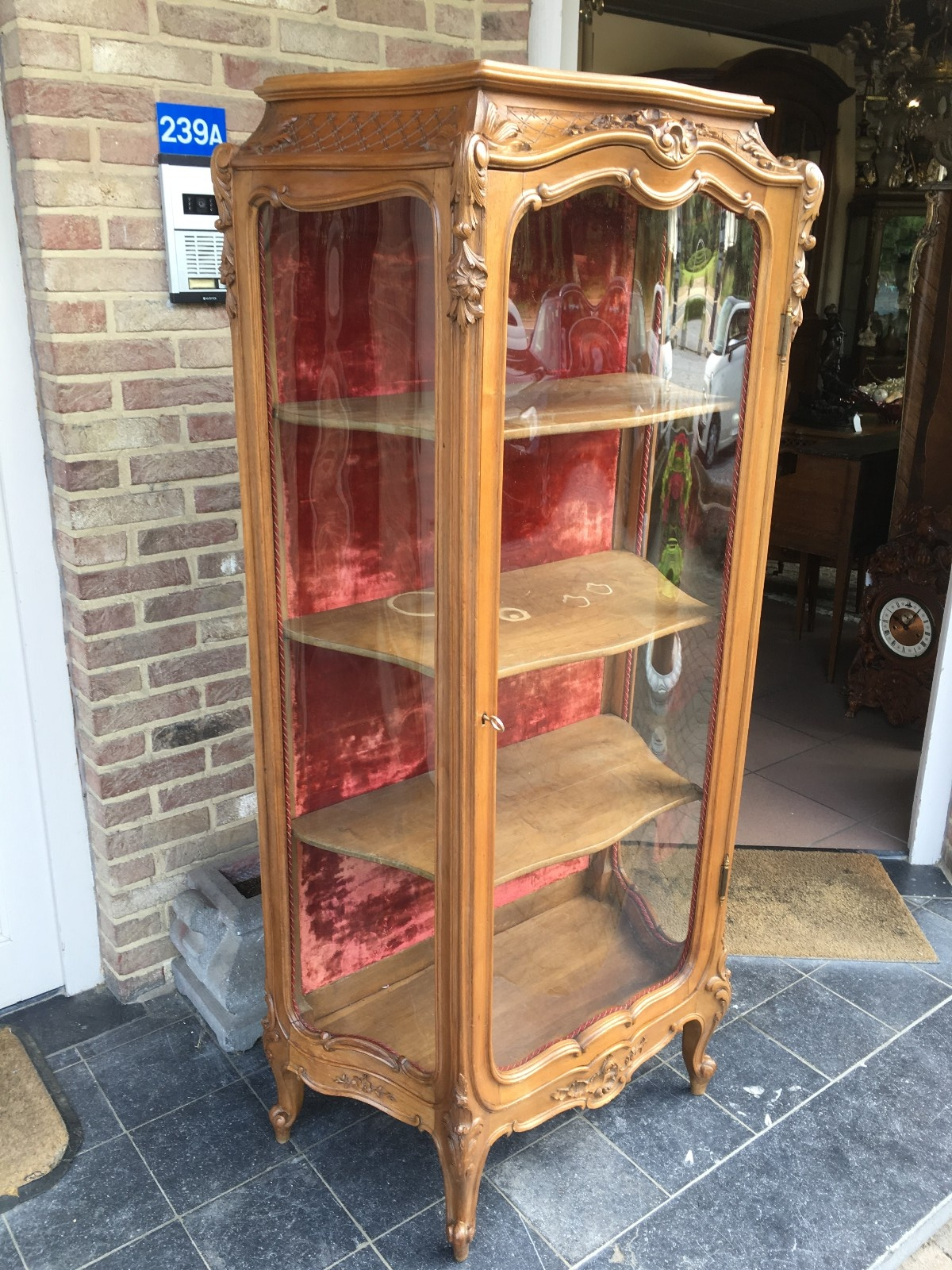 Louis 15 Display Cabinet With Curved Glass